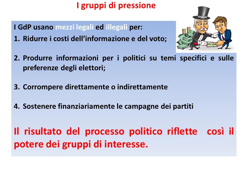 I gruppi di pressione I GdP usano mezzi legali ed illegali per: Ridurre i costi dell'informazione e del voto;