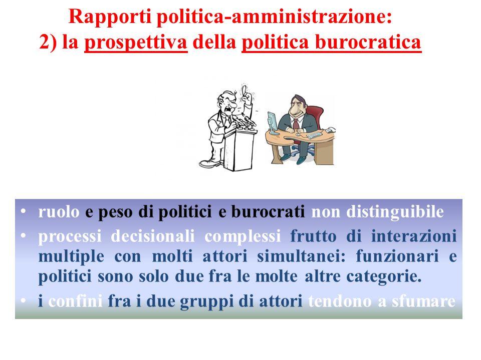 Rapporti politica-amministrazione: 2) la prospettiva della politica burocratica