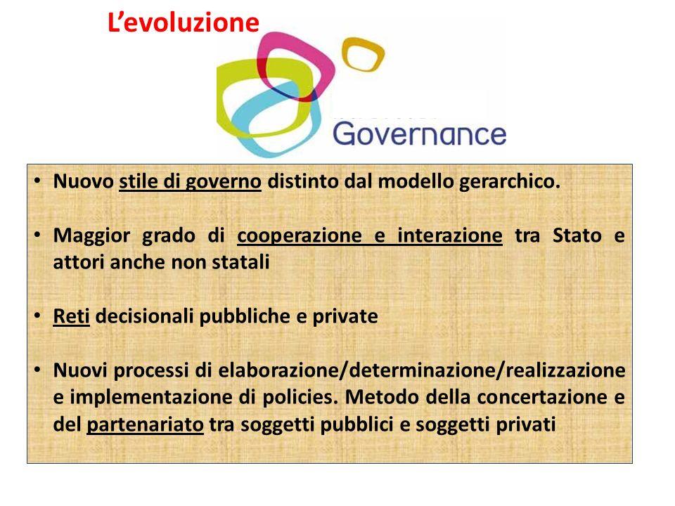 L'evoluzione Nuovo stile di governo distinto dal modello gerarchico.