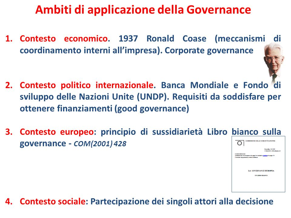 Ambiti di applicazione della Governance