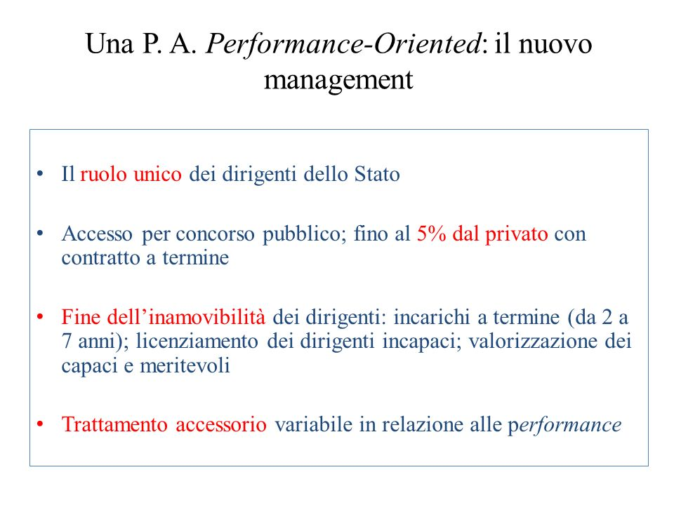 Una P. A. Performance-Oriented: il nuovo management