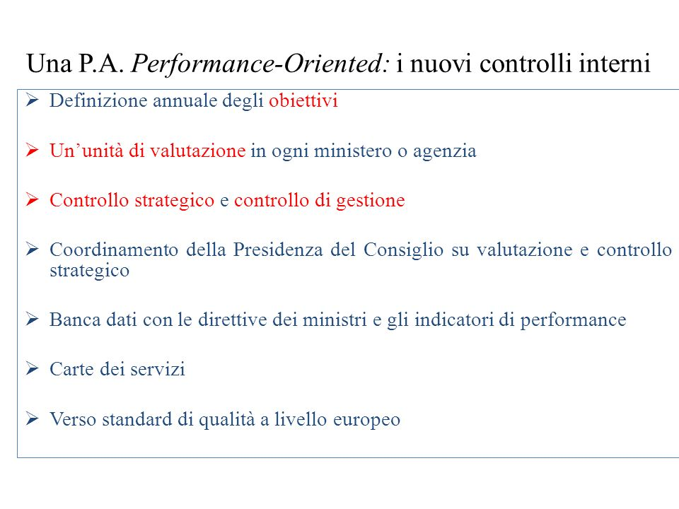 Una P.A. Performance-Oriented: i nuovi controlli interni