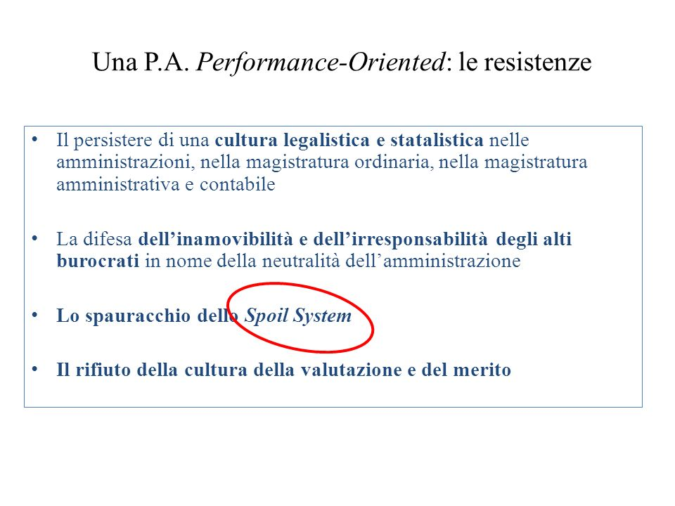 Una P.A. Performance-Oriented: le resistenze