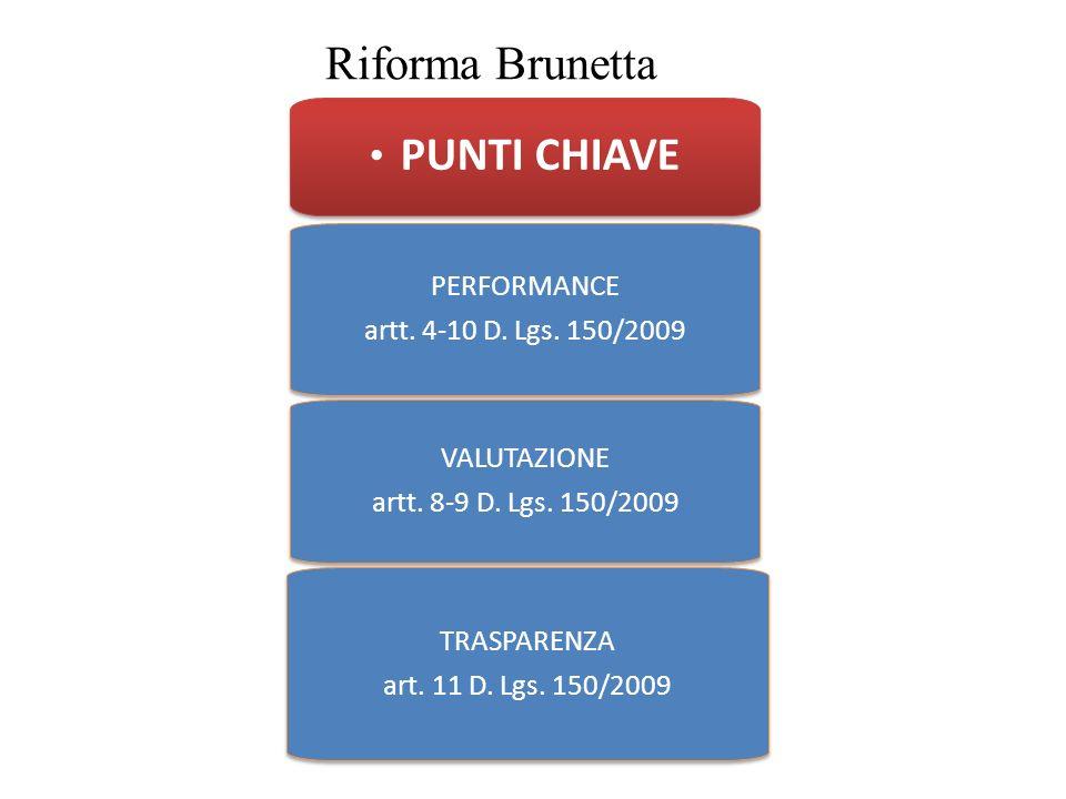 Riforma Brunetta PUNTI CHIAVE PERFORMANCE artt. 4-10 D. Lgs. 150/2009
