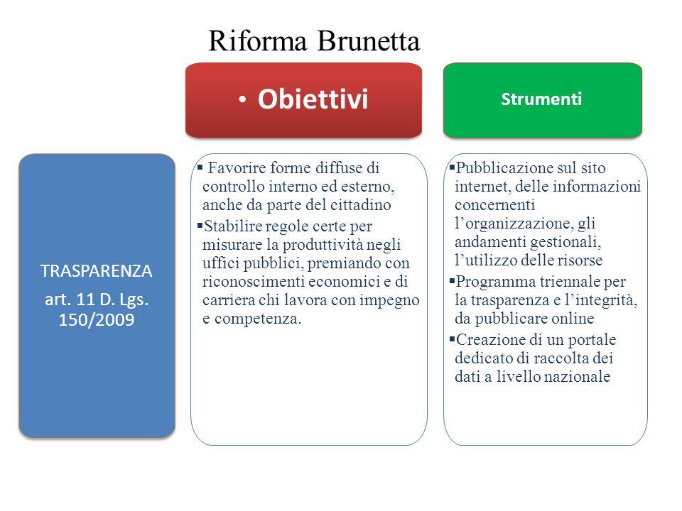 Riforma Brunetta Obiettivi Strumenti TRASPARENZA