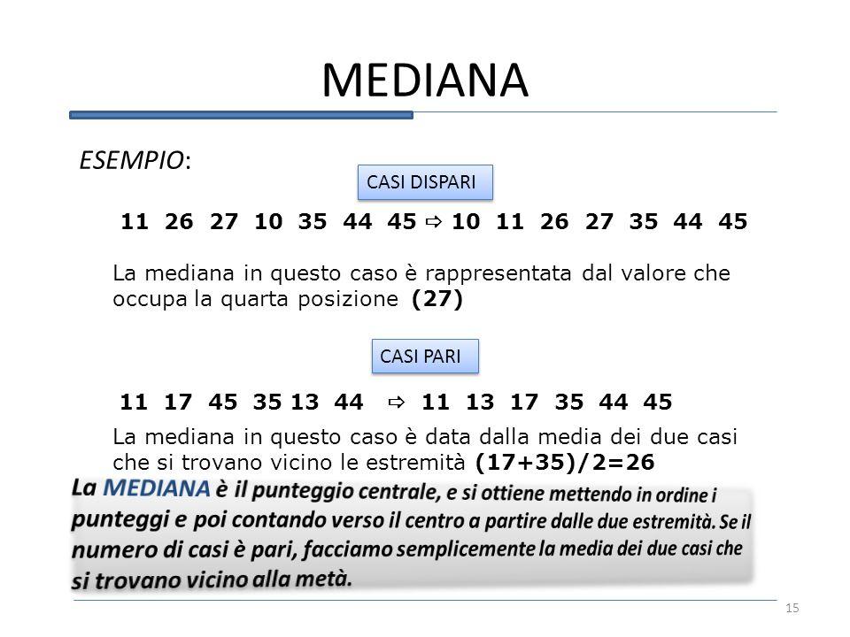 MEDIANA ESEMPIO: CASI DISPARI. 11 26 27 10 35 44 45  10 11 26 27 35 44 45.