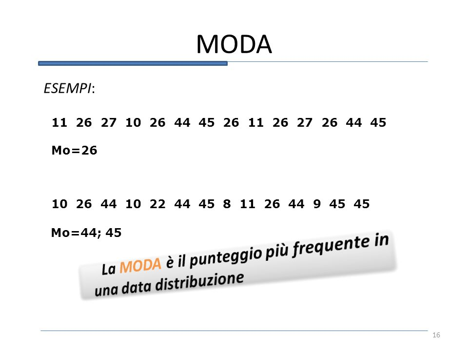 MODA La MODA è il punteggio più frequente in una data distribuzione