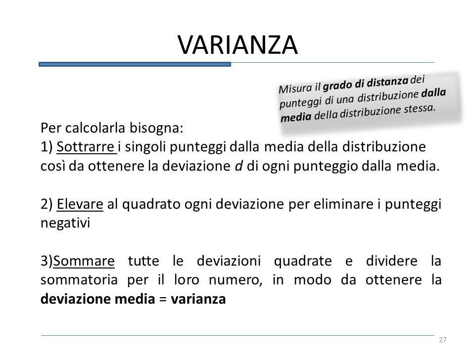 VARIANZA Misura il grado di distanza dei punteggi di una distribuzione dalla media della distribuzione stessa.