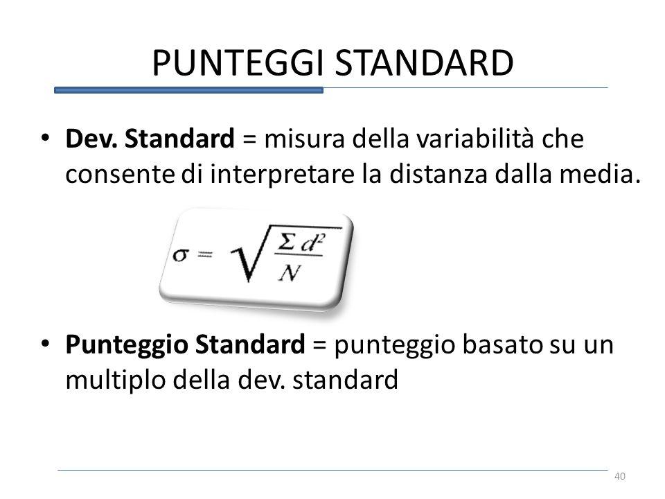 PUNTEGGI STANDARD Dev. Standard = misura della variabilità che consente di interpretare la distanza dalla media.