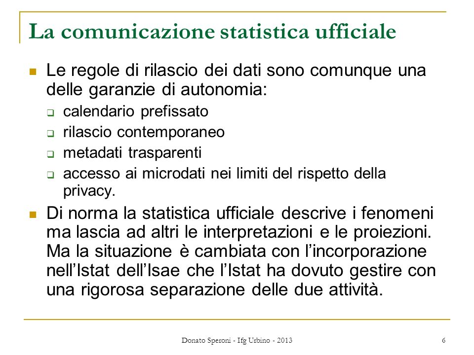 La comunicazione statistica ufficiale