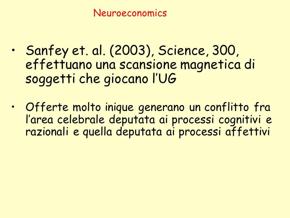Neuroeconomics Sanfey et. al. (2003), Science, 300, effettuano una scansione magnetica di soggetti che giocano l'UG.