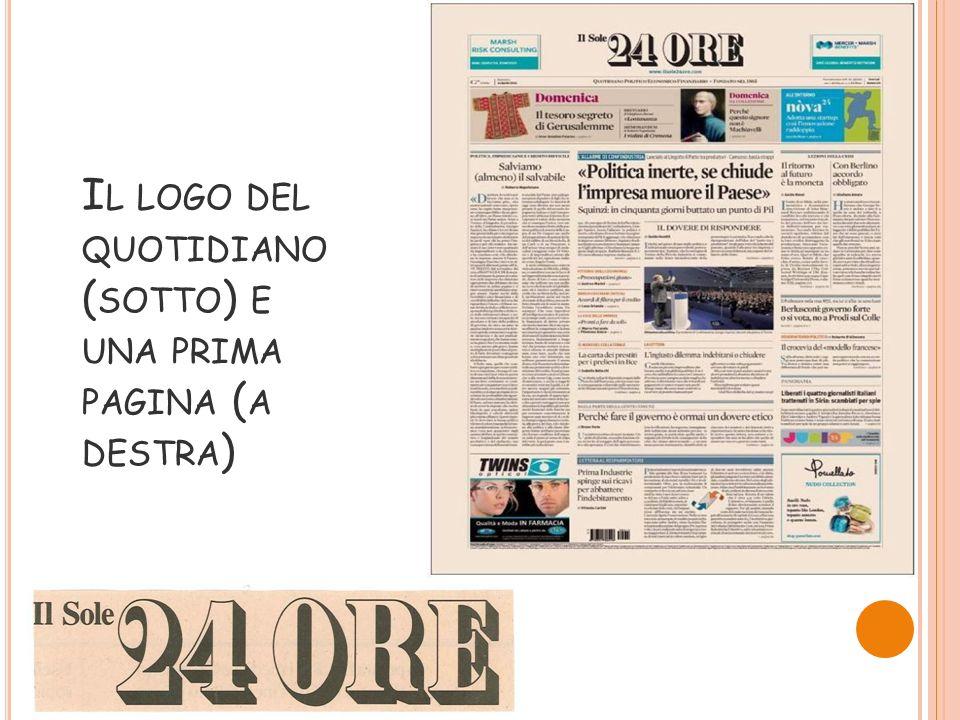 Il logo del quotidiano (sotto) e una prima pagina (a destra)