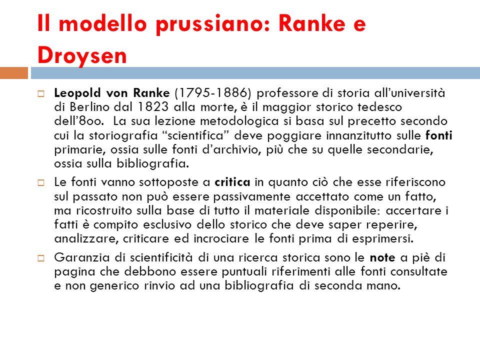 Il modello prussiano: Ranke e Droysen
