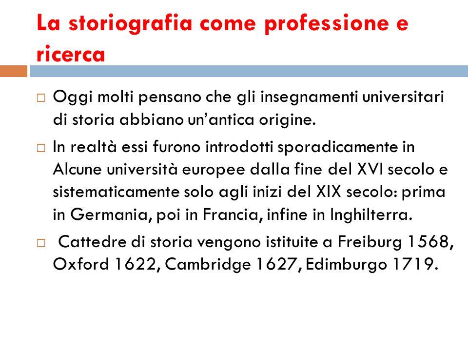 La storiografia come professione e ricerca