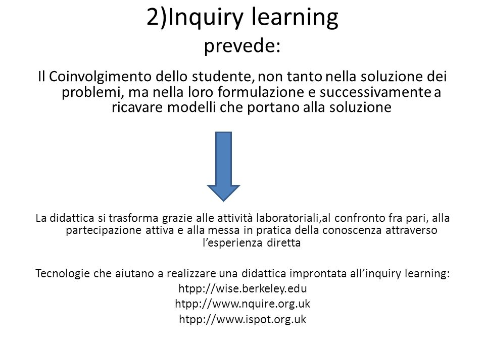 2)Inquiry learning prevede: