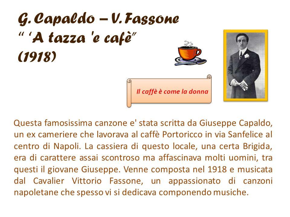G. Capaldo – V. Fassone 'A tazza e cafè (1918)