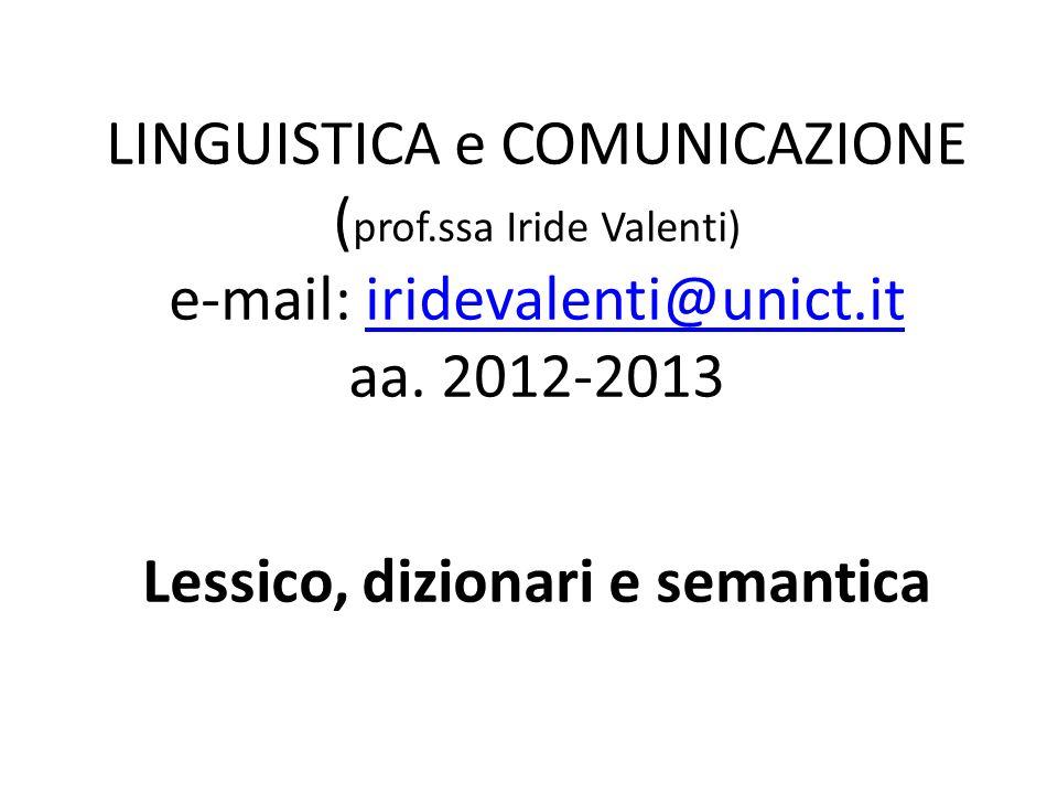 LINGUISTICA e COMUNICAZIONE (prof
