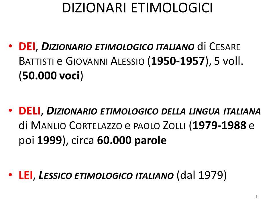 DIZIONARI ETIMOLOGICI