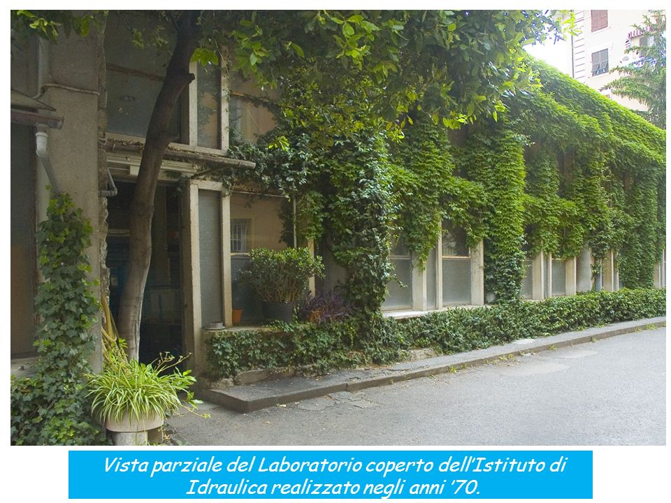 Vista parziale del Laboratorio coperto dell'Istituto di Idraulica realizzato negli anni '70.