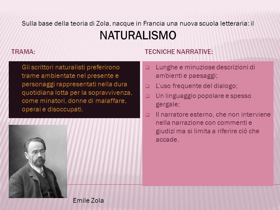 Sulla base della teoria di Zola, nacque in Francia una nuova scuola letteraria: il NATURALISMO
