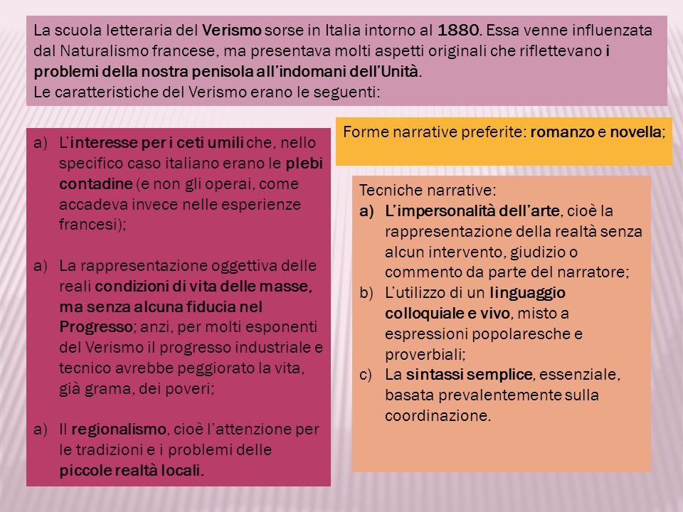 La scuola letteraria del Verismo sorse in Italia intorno al 1880