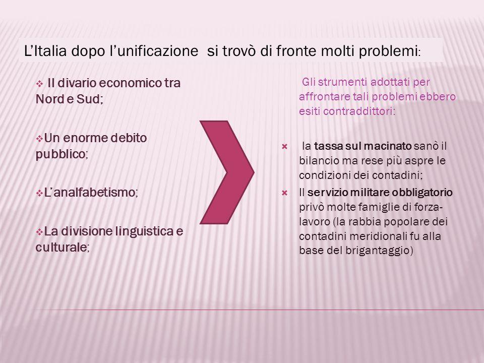 L'Italia dopo l'unificazione si trovò di fronte molti problemi: