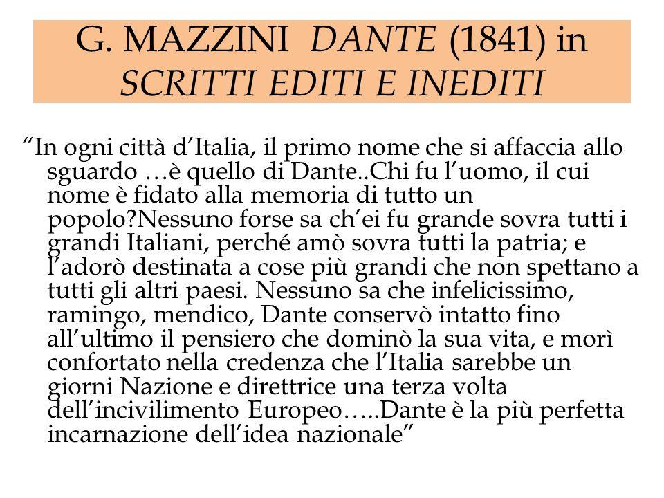 G. MAZZINI DANTE (1841) in SCRITTI EDITI E INEDITI