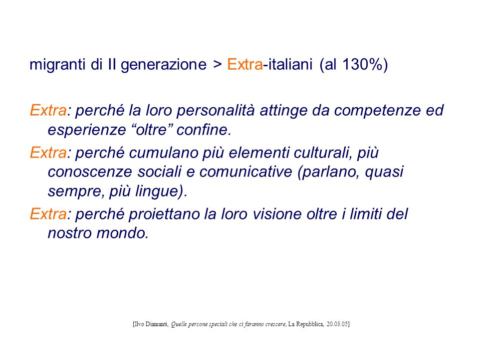 migranti di II generazione > Extra-italiani (al 130%)