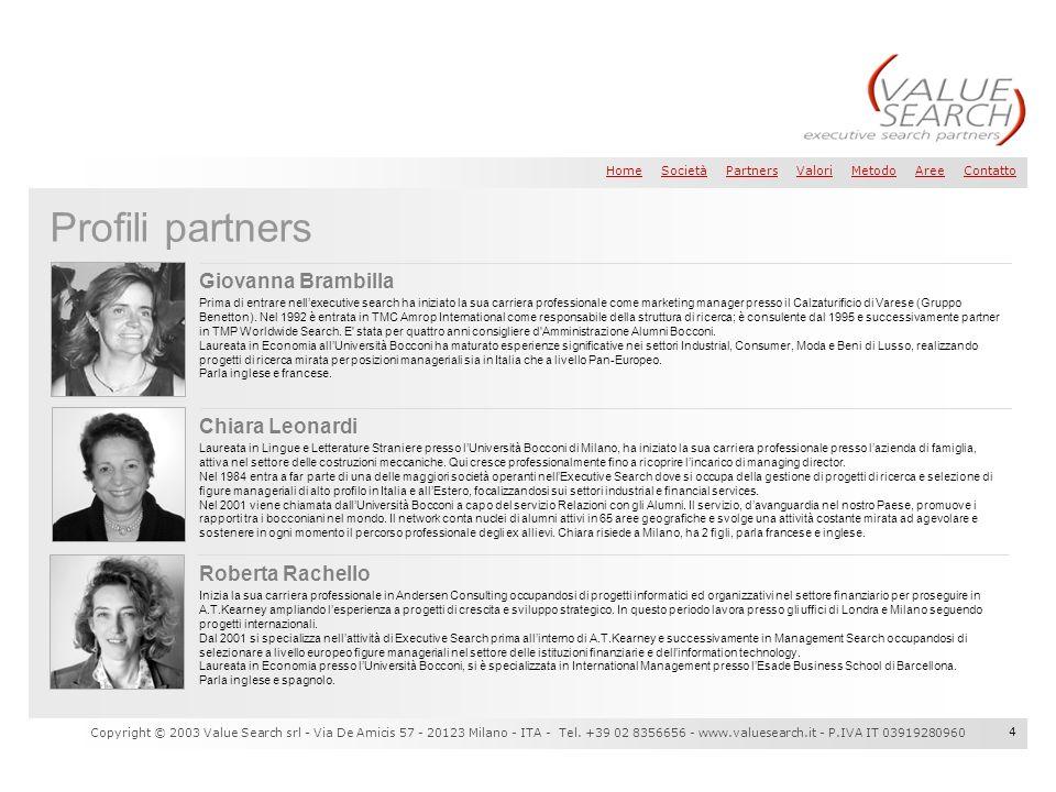 Profili partners Giovanna Brambilla Chiara Leonardi Roberta Rachello