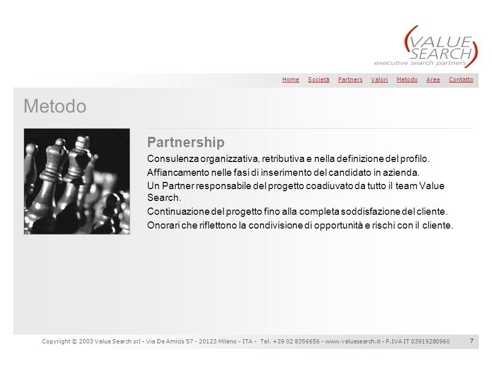 Metodo Partnership. Consulenza organizzativa, retributiva e nella definizione del profilo.