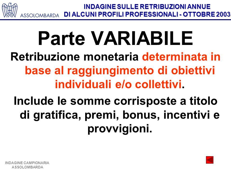 Parte VARIABILE Retribuzione monetaria determinata in base al raggiungimento di obiettivi individuali e/o collettivi.