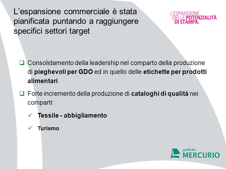 L'espansione commerciale è stata pianificata puntando a raggiungere specifici settori target