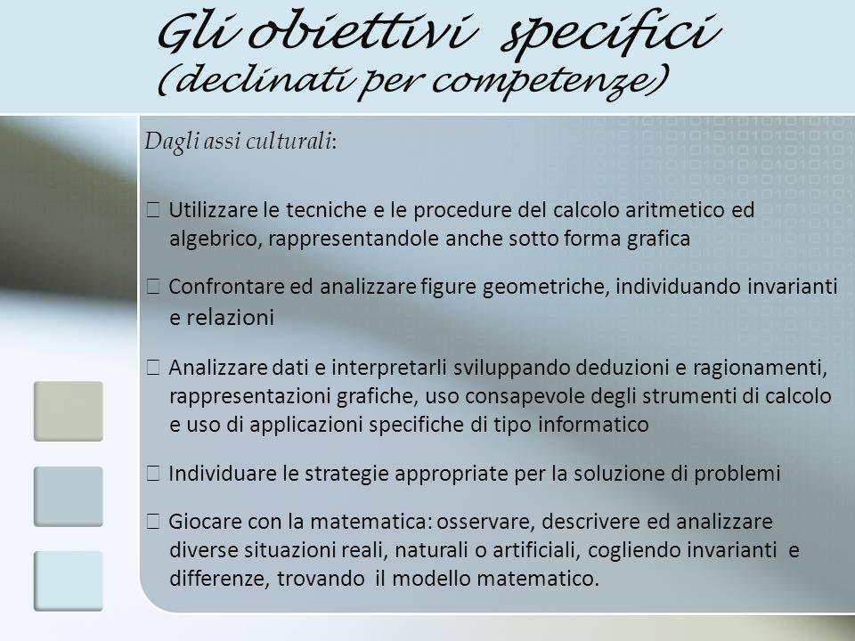 Gli obiettivi specifici (declinati per competenze)