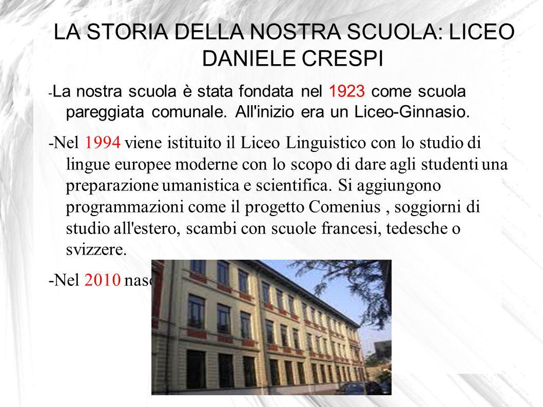 LA STORIA DELLA NOSTRA SCUOLA: LICEO DANIELE CRESPI