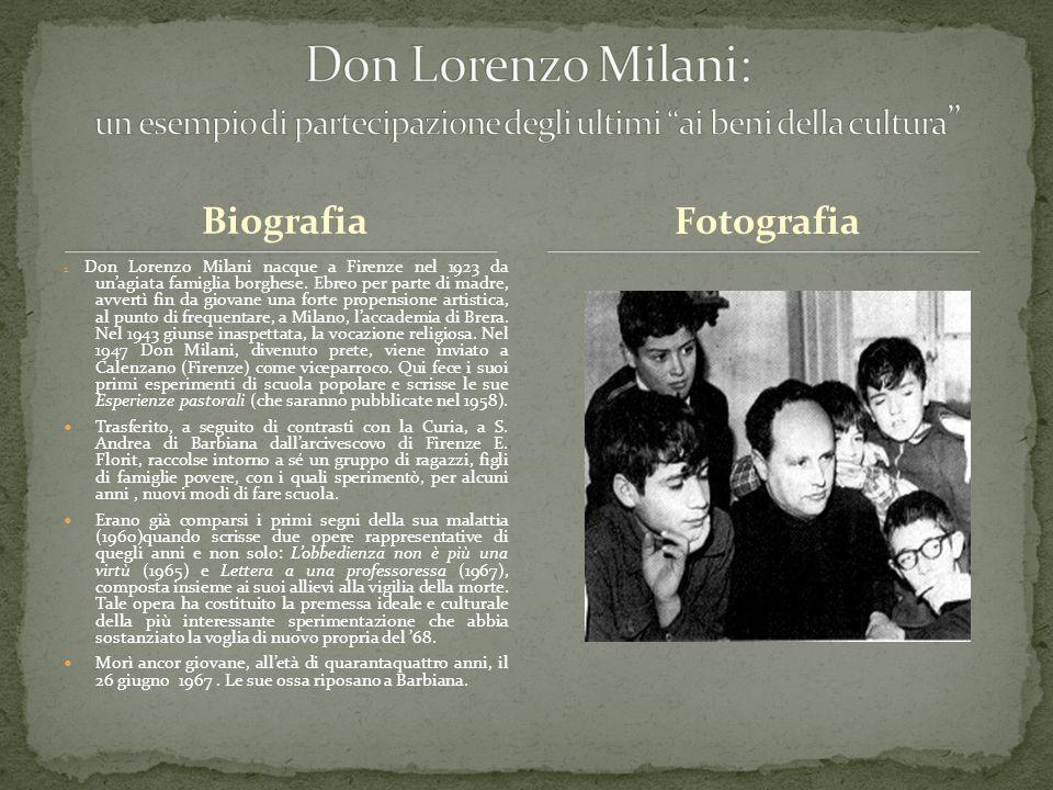 Don Lorenzo Milani: un esempio di partecipazione degli ultimi ai beni della cultura