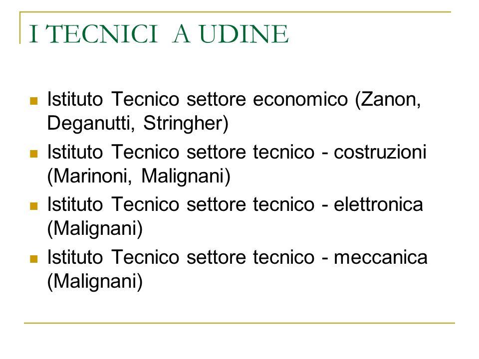 I TECNICI A UDINE Istituto Tecnico settore economico (Zanon, Deganutti, Stringher)