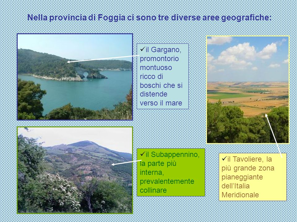 Nella provincia di Foggia ci sono tre diverse aree geografiche: