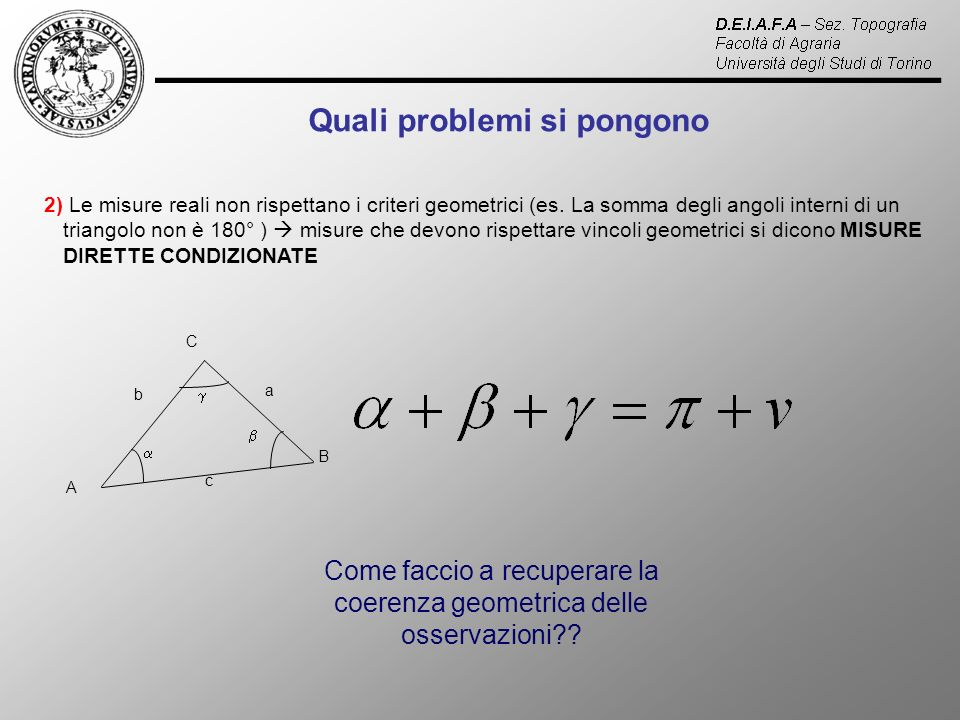 Come faccio a recuperare la coerenza geometrica delle osservazioni