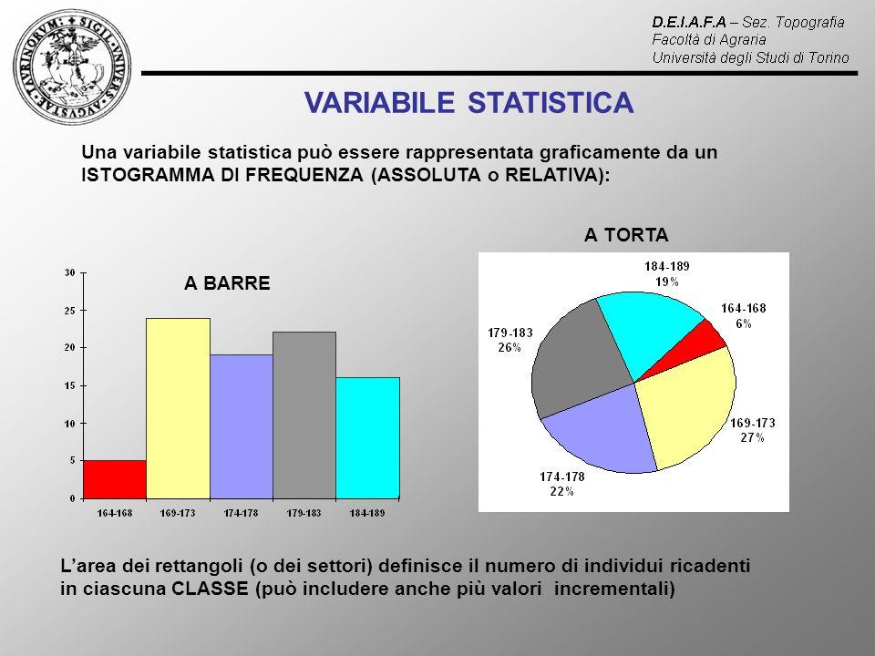 VARIABILE STATISTICA Una variabile statistica può essere rappresentata graficamente da un ISTOGRAMMA DI FREQUENZA (ASSOLUTA o RELATIVA):