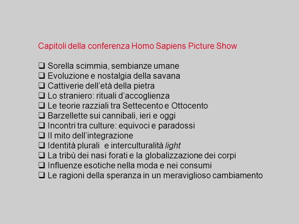 Capitoli della conferenza Homo Sapiens Picture Show