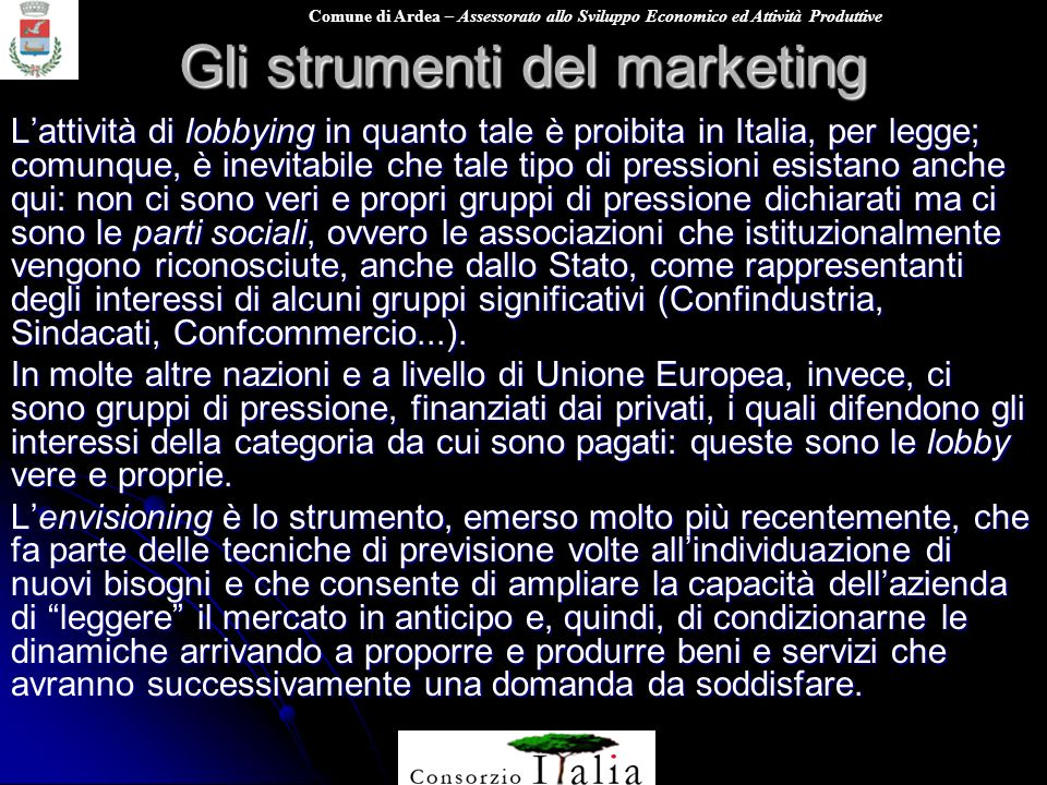 Gli strumenti del marketing