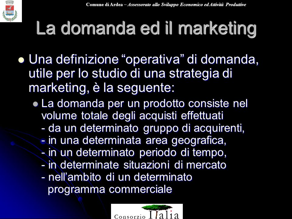 La domanda ed il marketing