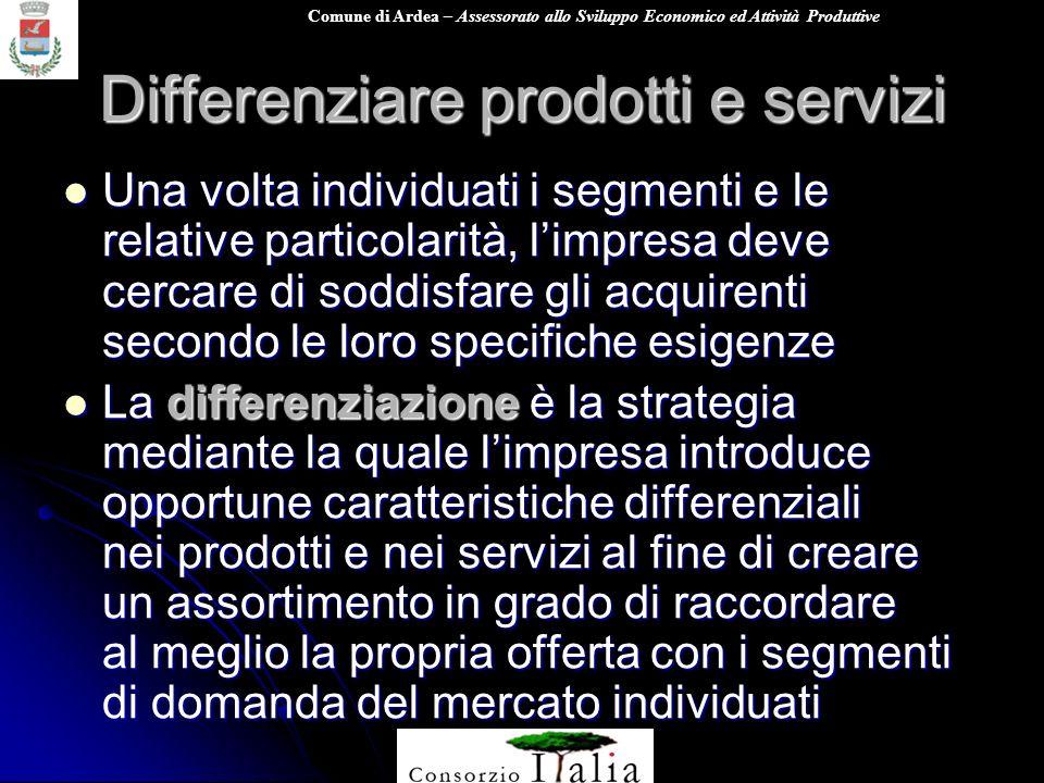 Differenziare prodotti e servizi