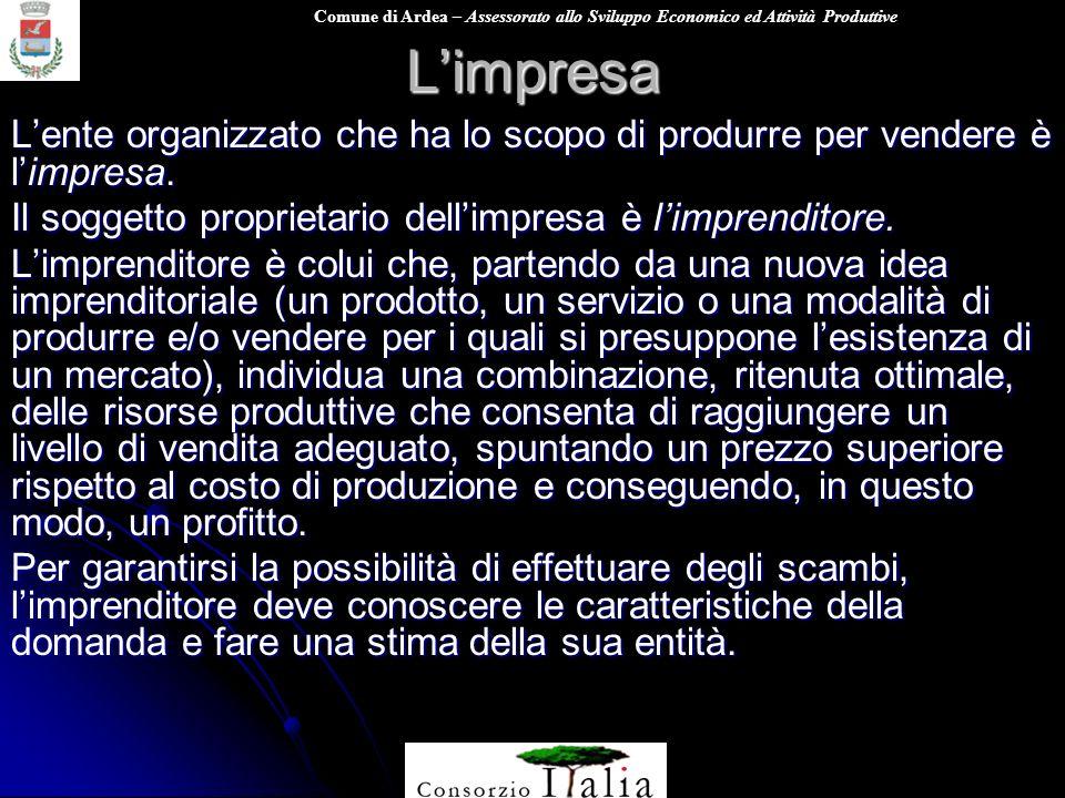 L'impresa L'ente organizzato che ha lo scopo di produrre per vendere è l'impresa. Il soggetto proprietario dell'impresa è l'imprenditore.