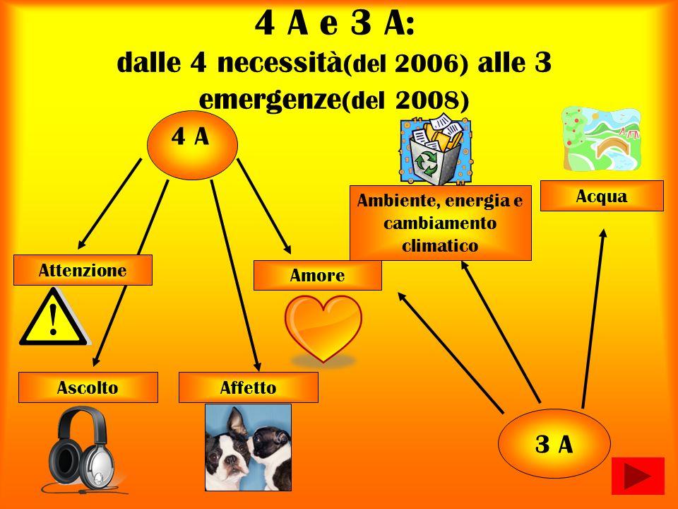 4 A e 3 A: dalle 4 necessità(del 2006) alle 3 emergenze(del 2008)