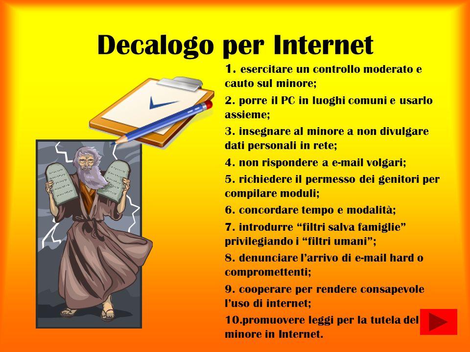 Decalogo per Internet esercitare un controllo moderato e cauto sul minore; porre il PC in luoghi comuni e usarlo assieme;