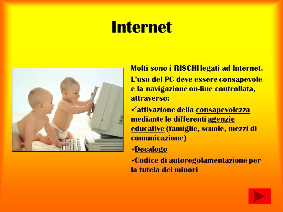 Internet Molti sono i RISCHI legati ad Internet.