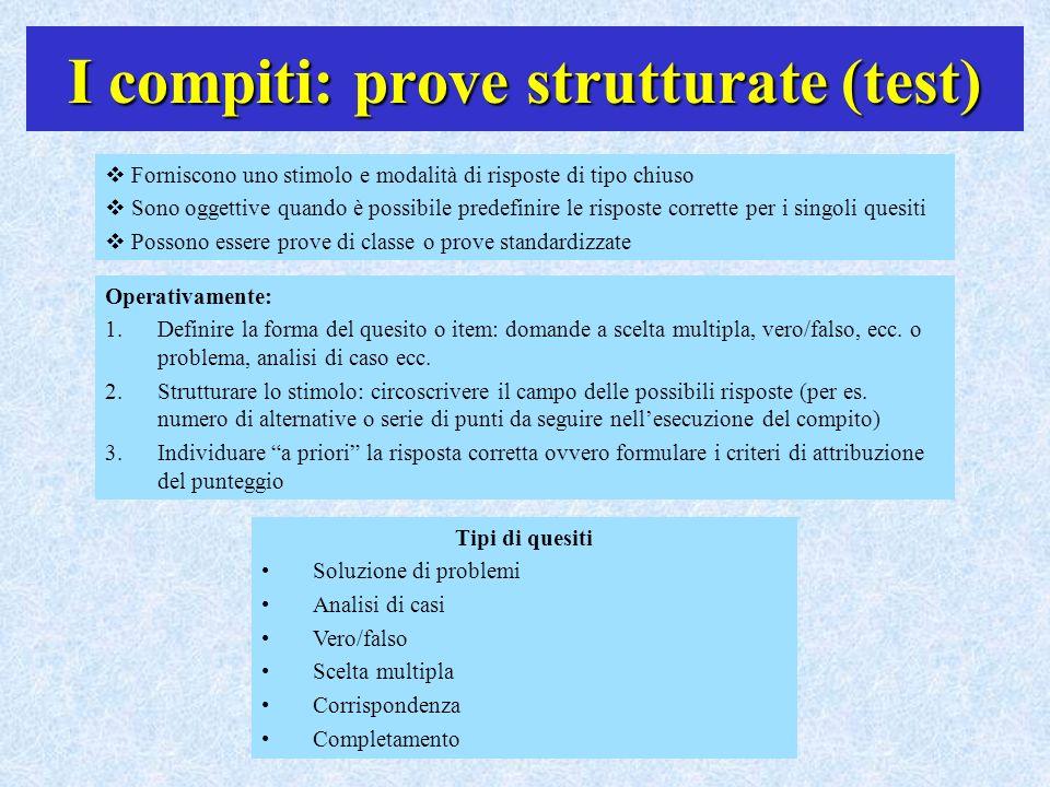 I compiti: prove strutturate (test)