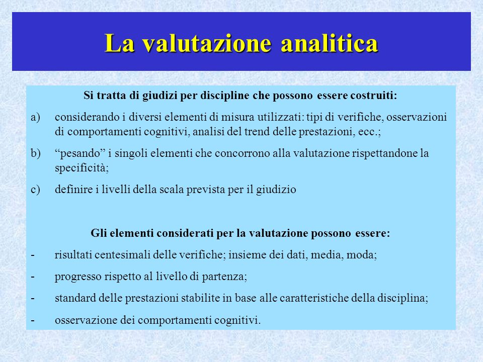 La valutazione analitica