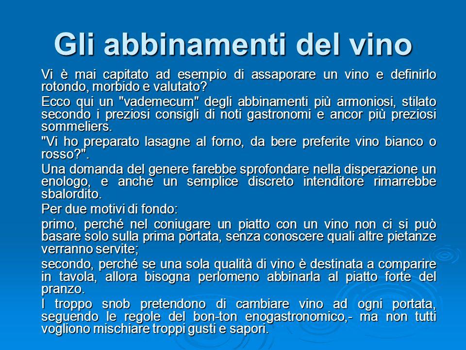 Gli abbinamenti del vino